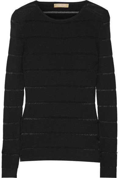 michael kors female 188971 michael kors collection sheerstriped ribbed merino woolblend sweater black