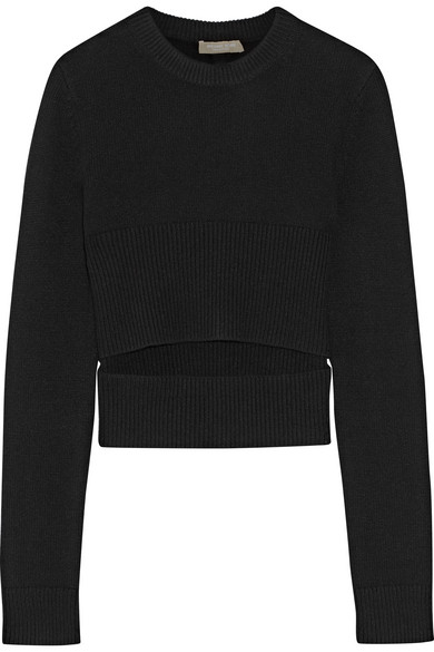 michael kors female 188971 michael kors collection cutout cashmere sweater black