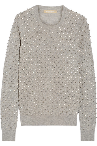 michael kors female 123868 michael kors collection crystalembellished cashmere sweater gray