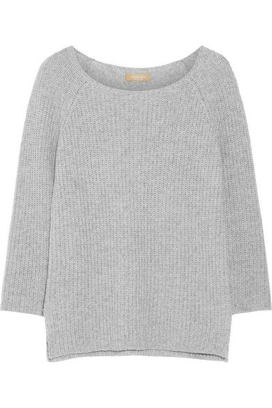 michael kors female 123868 michael kors collection ribbed cashmere and cottonblend sweater gray
