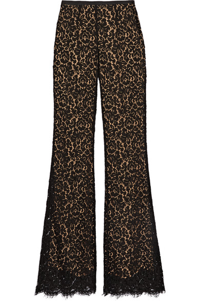 michael kors female 188971 michael kors collection corded cottonblend lace flared pants black