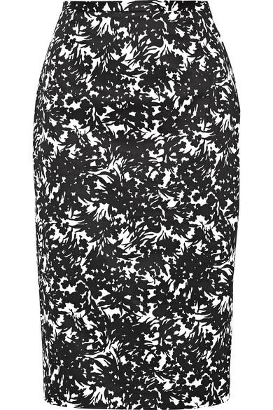 michael kors female 188971 michael kors collection floralprint stretchcotton skirt black