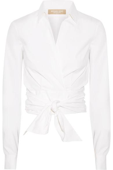 709ee546c9c9d Michael Kors Collection. Stretch cotton-poplin wrap blouse