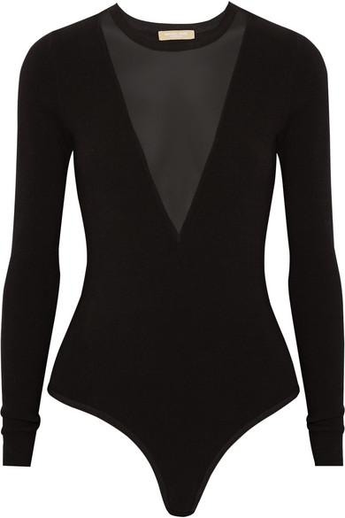 michael kors female 188971 michael kors collection meshpaneled stretchjersey bodysuit black