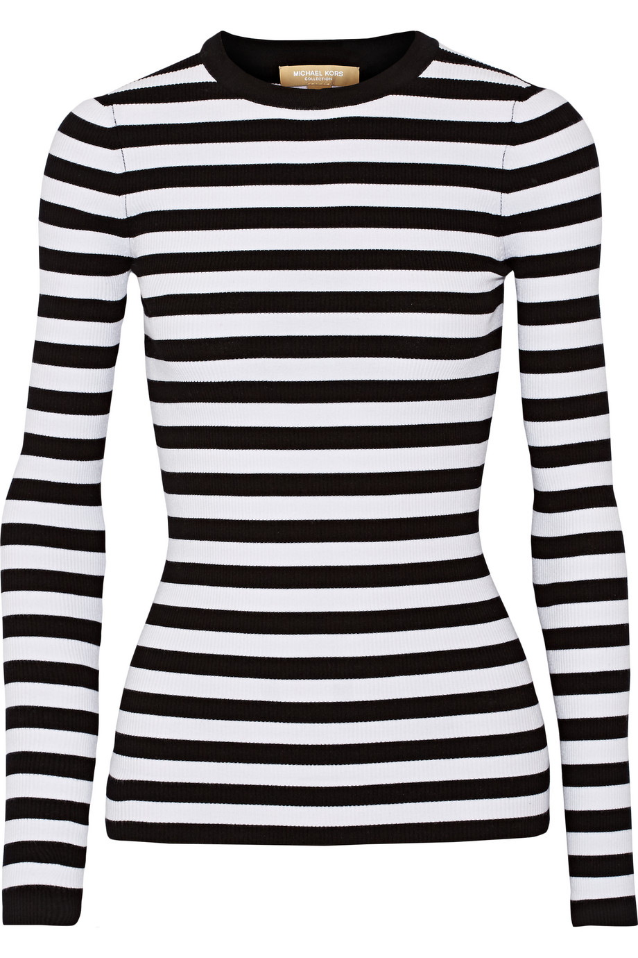 Striped Ribbed Stretch-Knit Sweater, White/Black, Women's