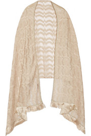 Fringed embellished metallic crochet-knit wrap