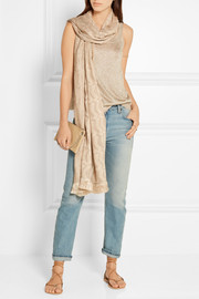 Missoni Fringed embellished metallic crochet-knit wrap
