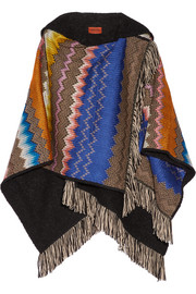 Fringed crochet-knit hooded wrap