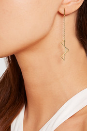 Dropped Triple Triangle gold-plated earrings