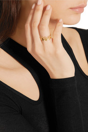 Set of two Crown gold-plated rings