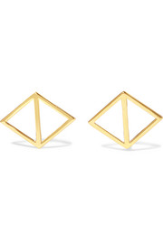 Merged Triangle gold-plated earrings