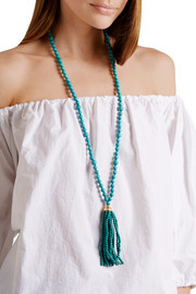Tasseled gold-plated beaded turquoise necklace