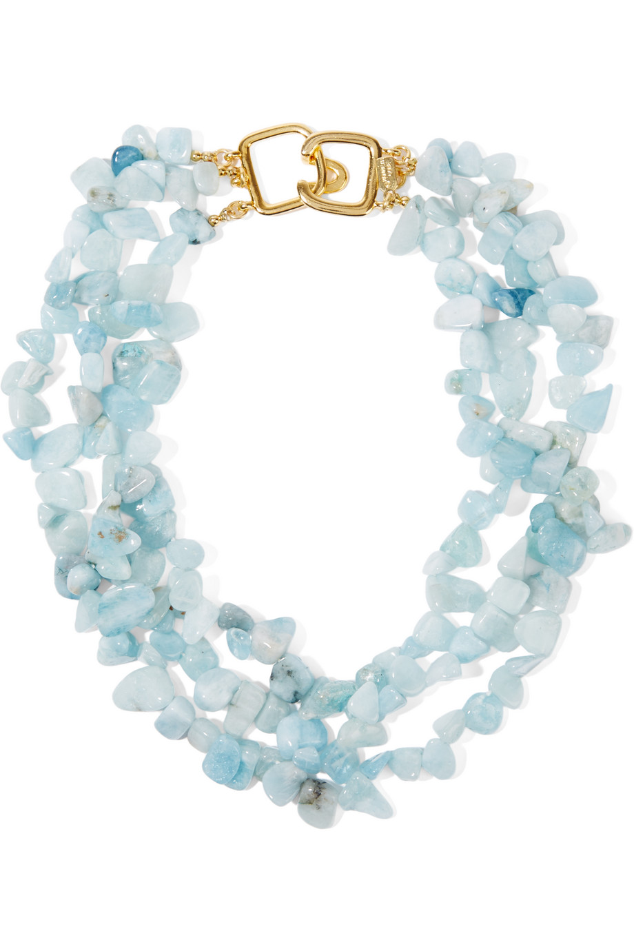 Gold-Plated Beaded Necklace, Kenneth Jay Lane, Sky Blue, Women's