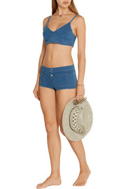 J Brand Roseann stretch-denim bikini top