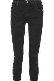 J Brand Alba studded cropped mid-rise skinny jeans