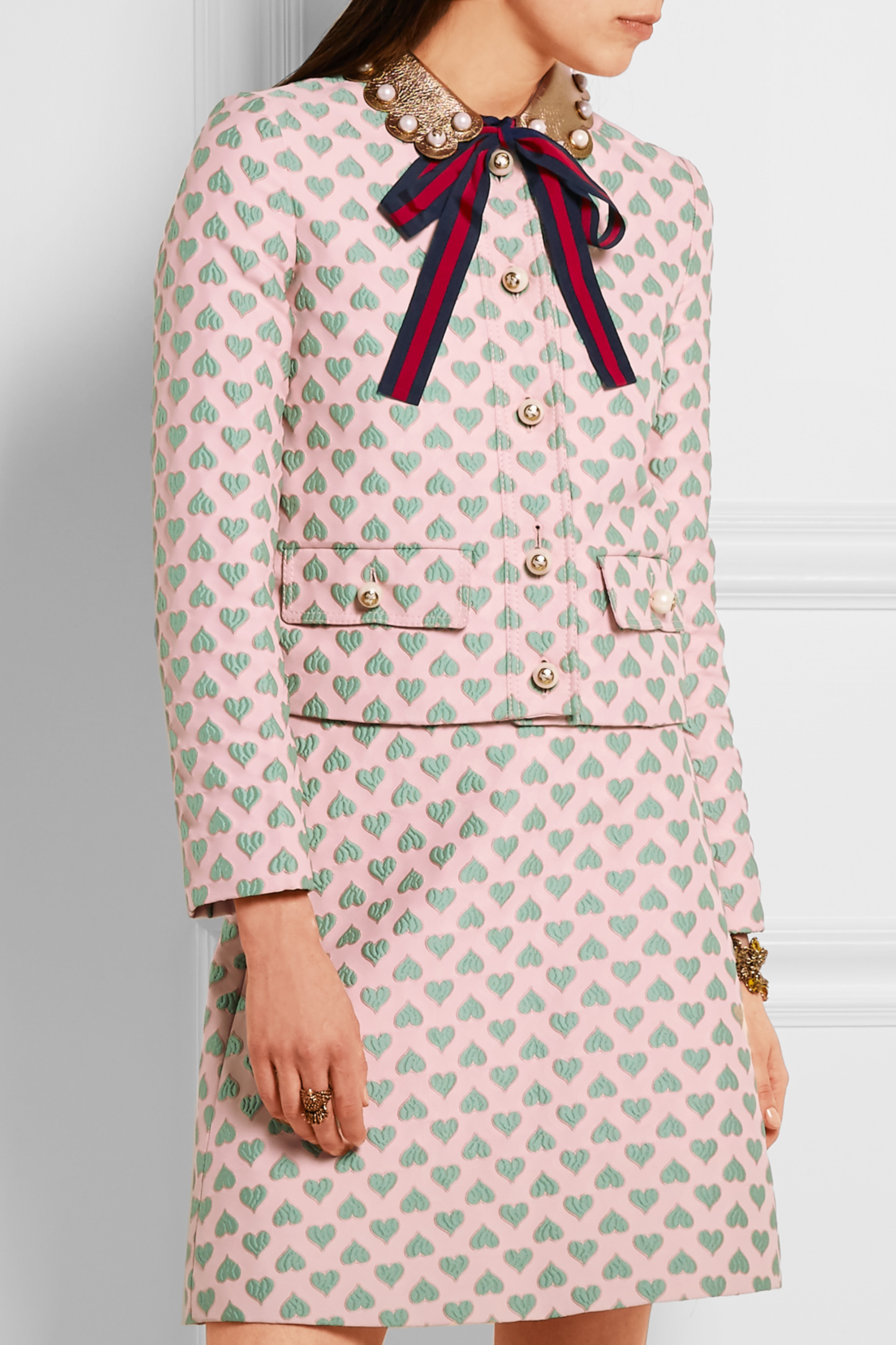 Gucci for NET-A-PORTER Leather-trimmed jacquard jacket