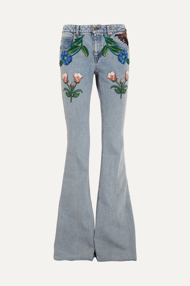 ab0ef0097 Gucci for NET-A-PORTER | Appliquéd mid-rise flared jeans | NET-A ...