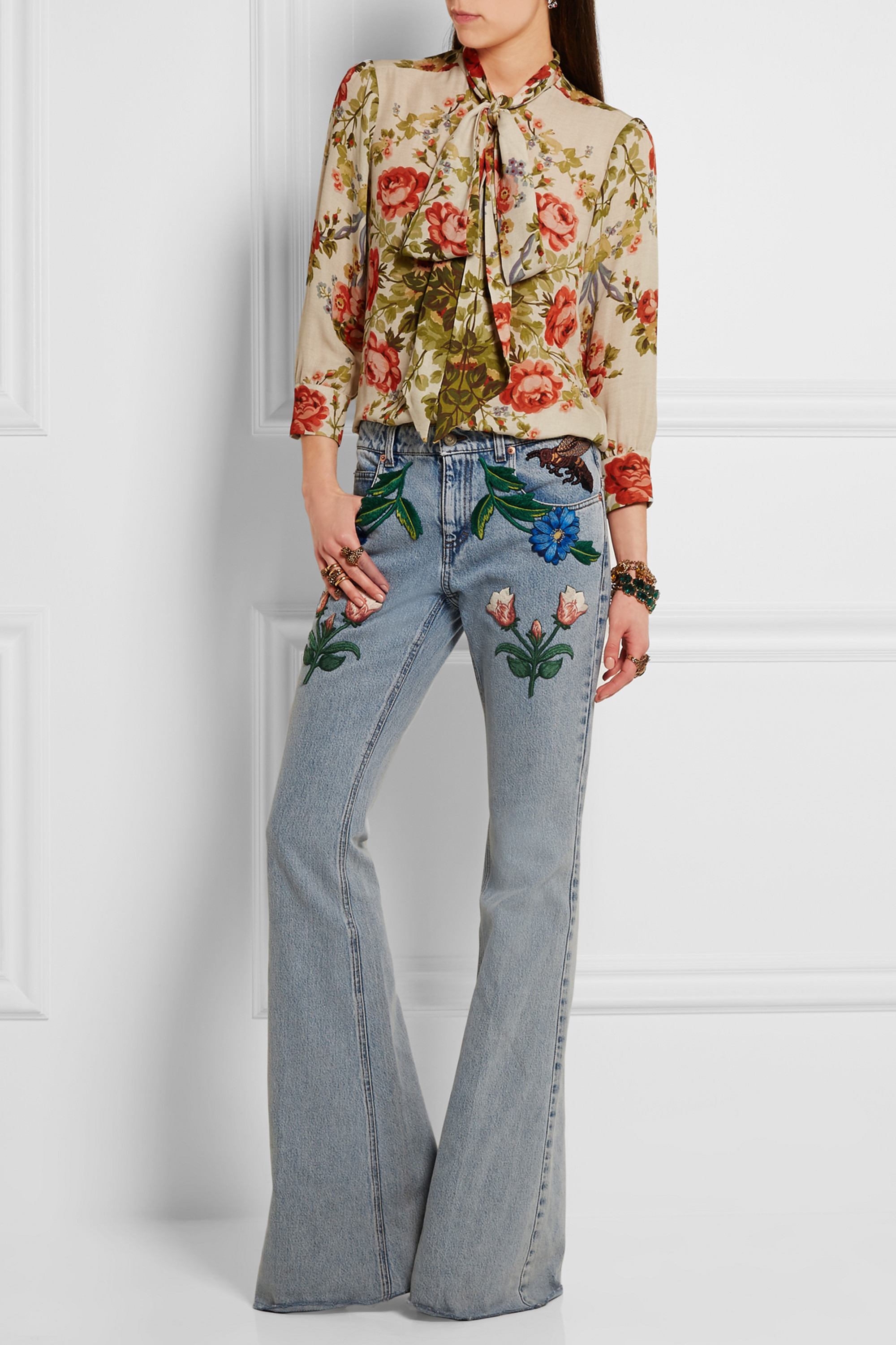 Gucci for NET-A-PORTER Appliquéd mid-rise flared jeans