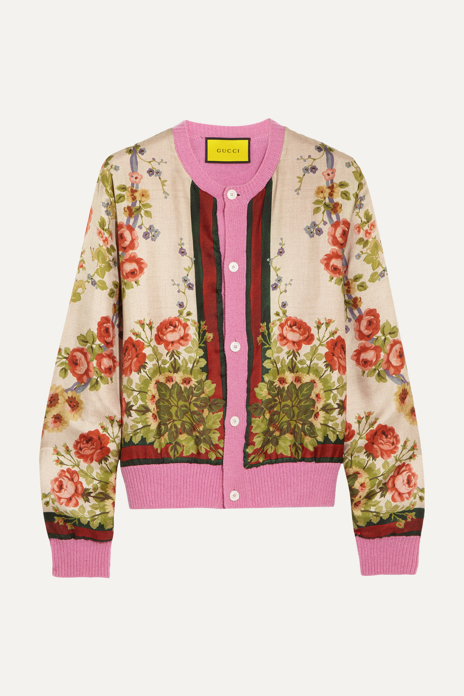 Gucci for NET-A-PORTER Floral-print silk and wool-blend cardigan