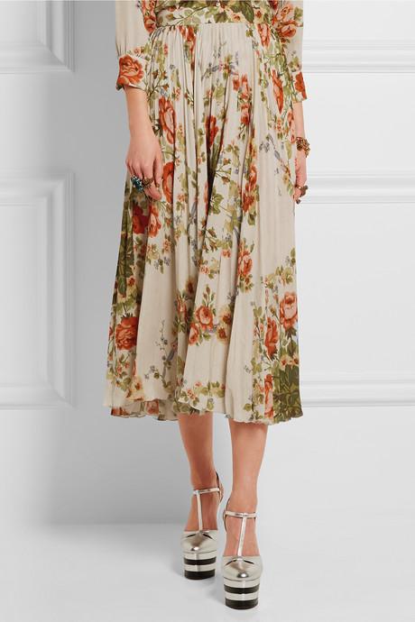 Pleated floral-print silk midi skirt