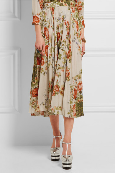 Gucci for NET-A-PORTER   Pleated floral-print silk midi skirt ...