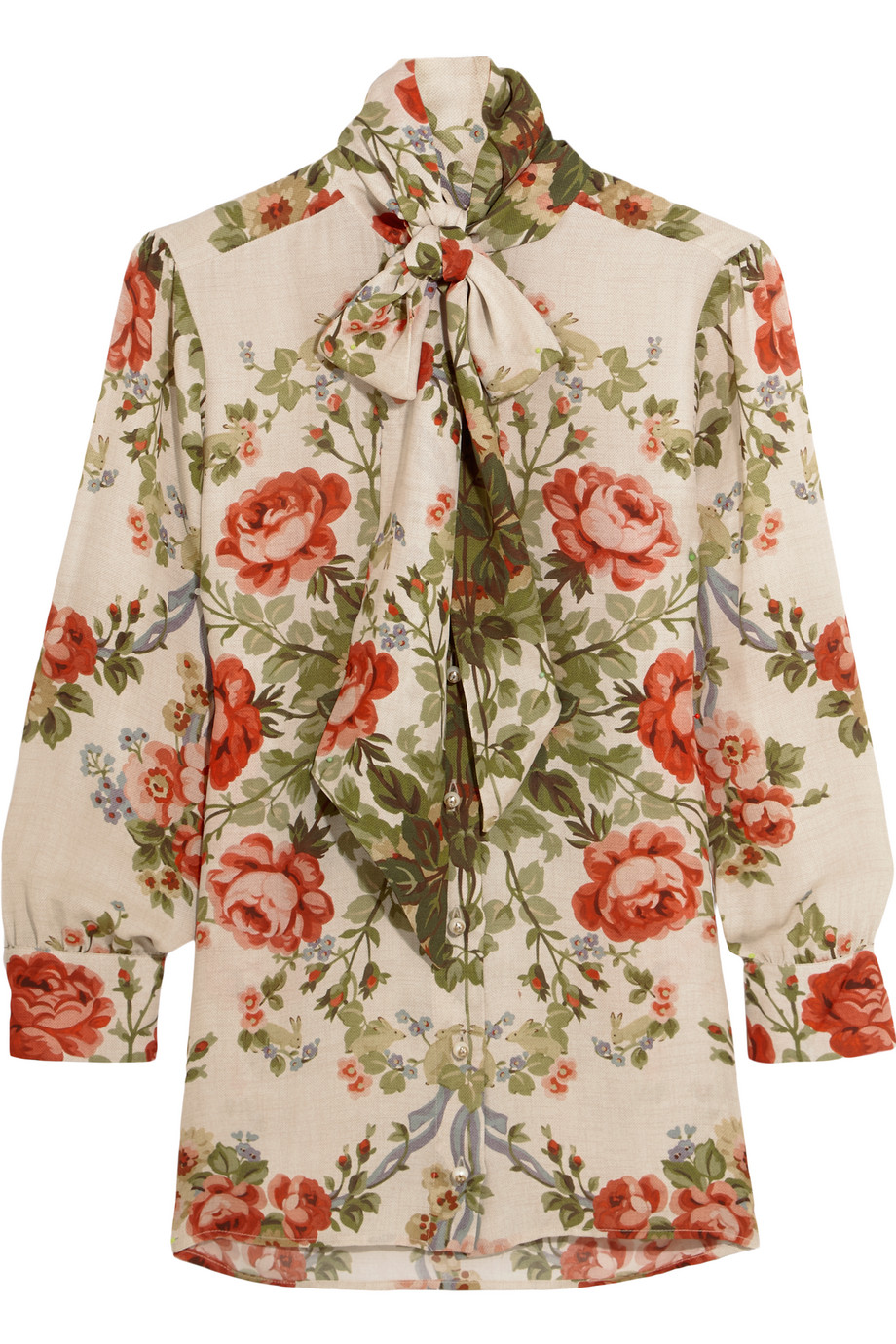 Pussy-Bow Floral-Print Silk Blouse, Size: 44