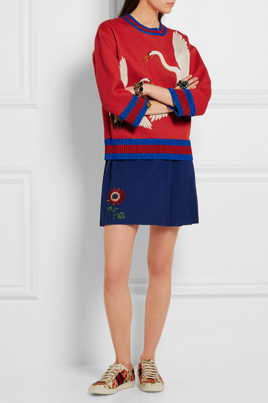 Gucci for NET-A-PORTER Printed bonded cotton-jersey sweatshirt