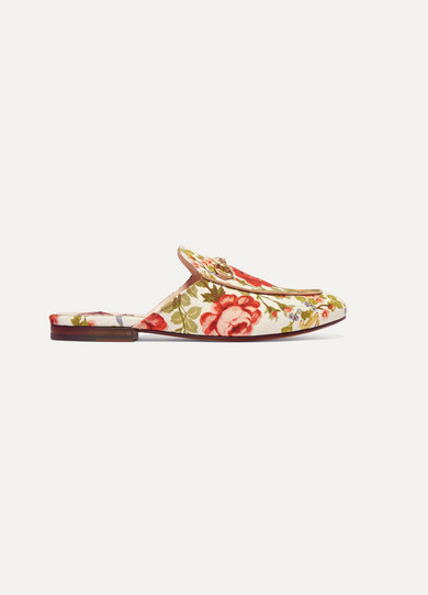 PRINCETOWN HORSEBIT-DETAILED FLORAL-PRINT CANVAS SLIPPERS