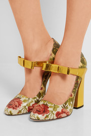 Floral-print textured-leather pumps