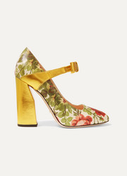 Gucci for NET-A-PORTER Floral-print textured-leather pumps
