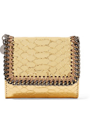 Falabella metallic snake-effect faux leather wallet
