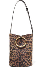 Stella McCartney Bucket leopard-print faux calf hair and faux leather shoulder bag