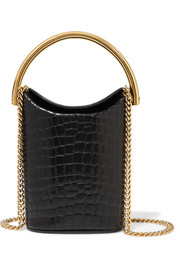 Croc-effect faux leather bucket bag
