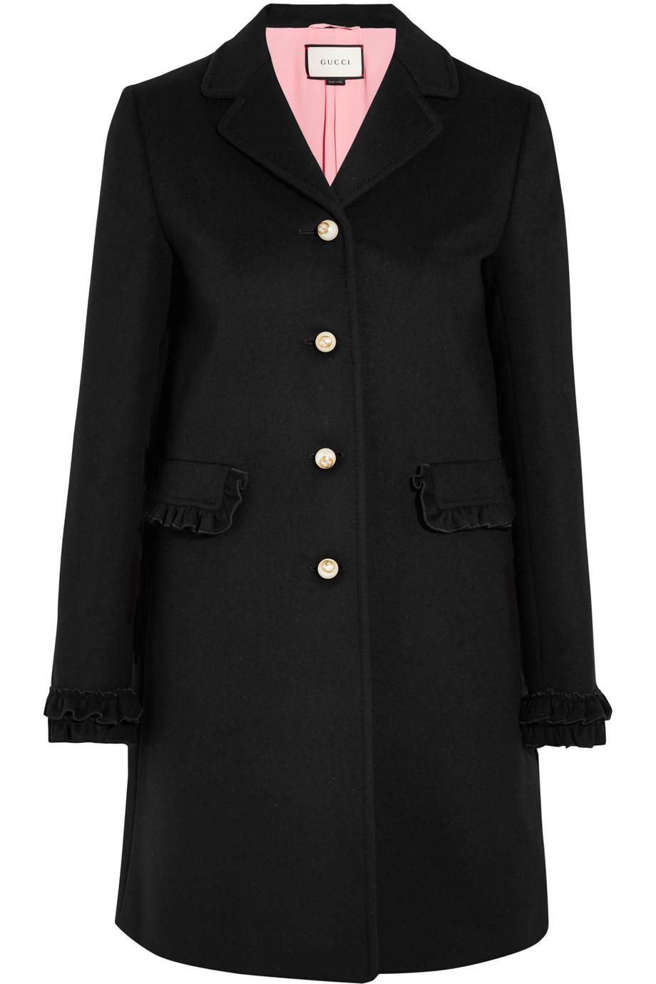 Gucci Ruffle-Trimmed Wool Coat, Black, Women's, Size: 38