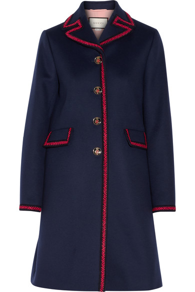 Gucci - Embroidered Wool Coat - Navy