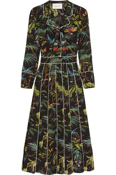 Gucci - Embellished Printed Silk Crepe De Chine Midi Dress - Black