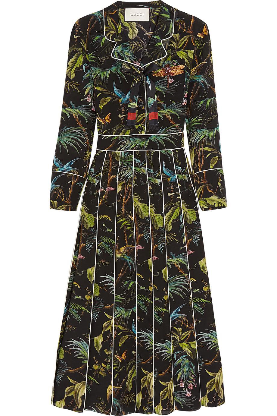 Gucci Embellished Printed Silk Crepe De Chine Midi Dress, Size: 46