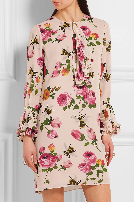 Gucci Ruffled printed silk crepe de chine mini dress