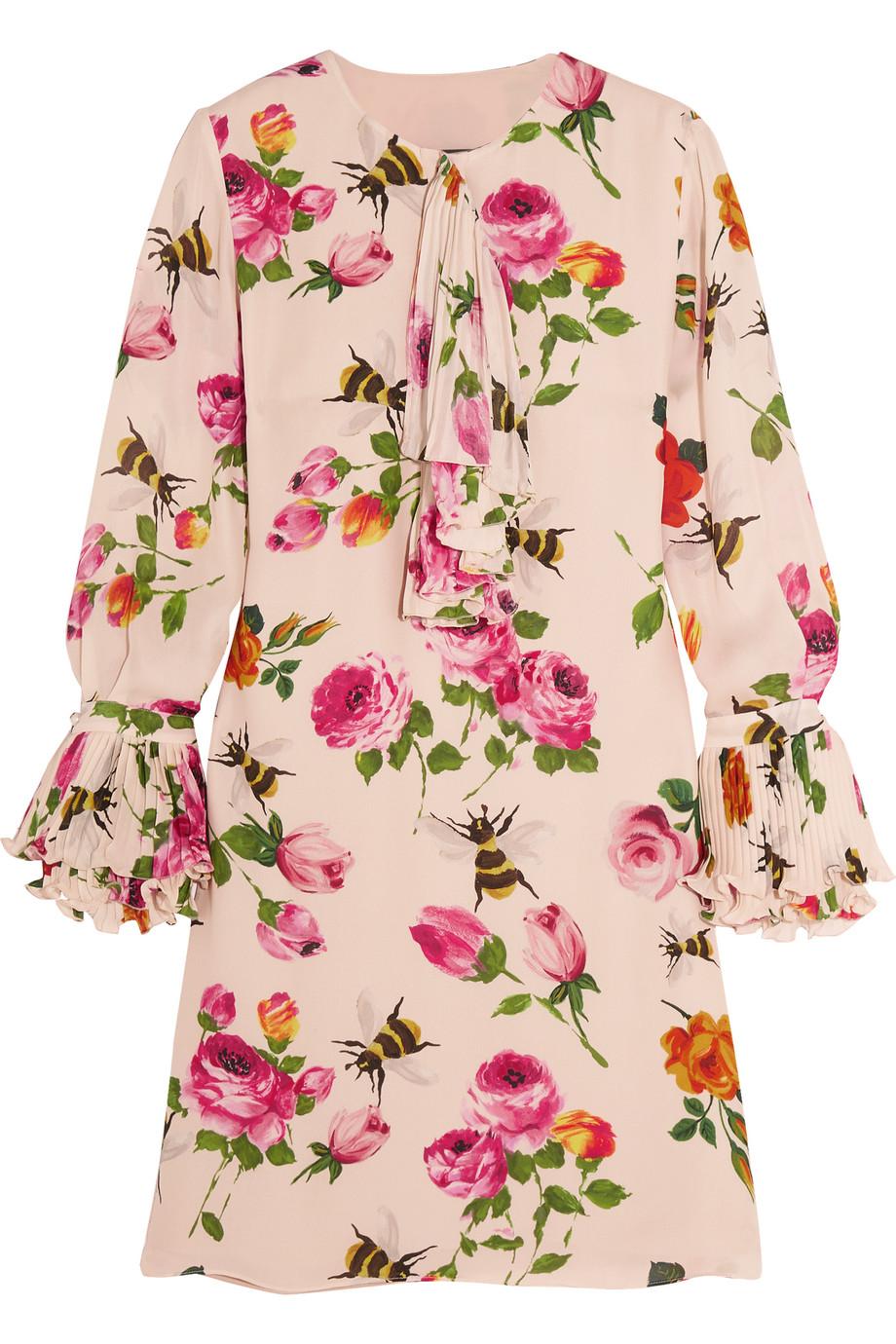 Gucci Ruffled Printed Silk Crepe De Chine Mini Dress, Ivory/Pink, Women's - Printed, Size: 38