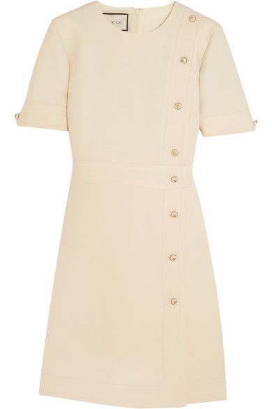 Gucci - Faux Pearl-embellished Wool And Silk-blend Mini Dress - Ivory