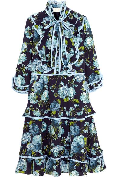 Gucci - Ruffled Floral-print Silk Crepe De Chine Dress - Navy