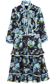 Gucci Ruffled floral-print silk crepe de chine dress
