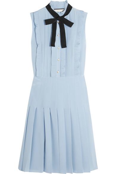 Gucci - Ruffled Pleated Silk Crepe De Chine Mini Dress - Sky blue
