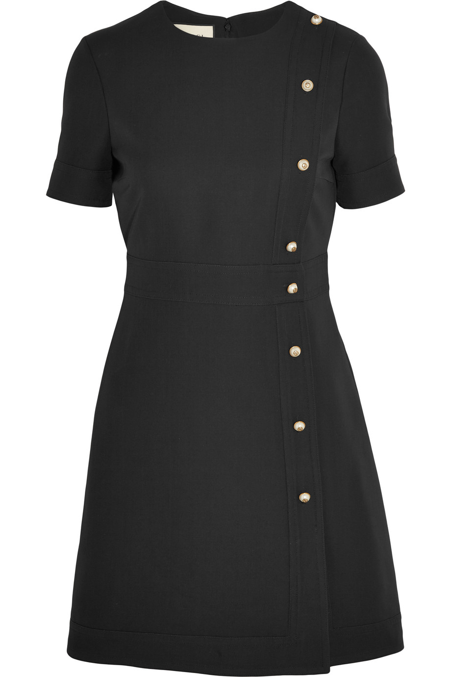 Gucci Faux Pearl-Embellished Wool and Silk-Blend Mini Dress, Size: 44
