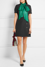Gucci Faux pearl-embellished wool and silk-blend mini dress