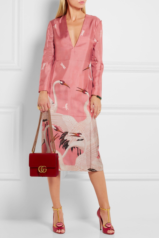 Gucci Printed silk-twill dress