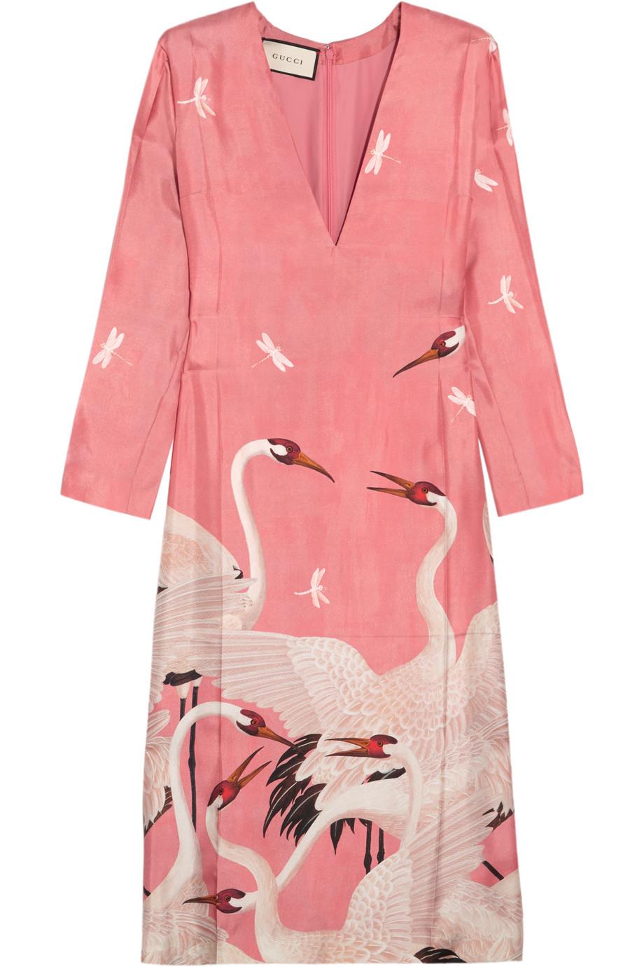 Gucci Printed Silk-Twill Dress, Pink, Women's - Printed, Size: 36
