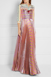 Gucci Embellished striped lamé gown