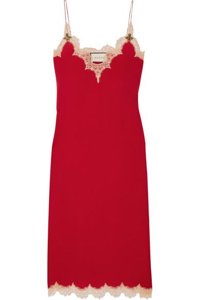 Gucci - Lace-trimmed Silk Midi Dress - Claret