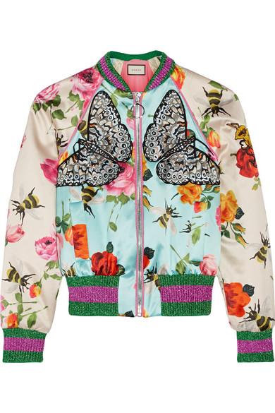 Gucci - Appliquéd Printed Silk-satin Bomber Jacket - Sky blue